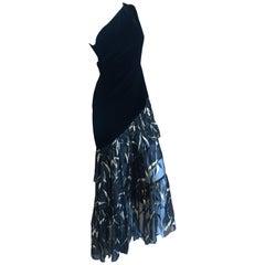 Yves Saint Laurent Rive Gauche '76 Black Velvet One Shoulder Evening Dress