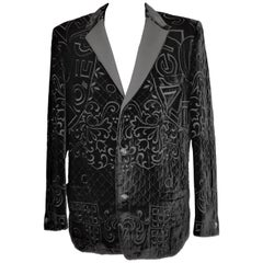 VINTAGE GIANNI VERSACE BLACK VELVET BRAZER with EMBROIDERY for MEN
