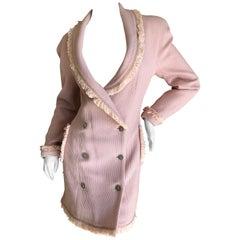 Christian Dior by John Galliano Autumn 1997 Pink Boucle Fringed Coat Dress