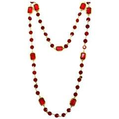 """Chanel Vintage 1981 Red Crystal Chicklet Sautoir Goldtone Long Necklace 60"""""""