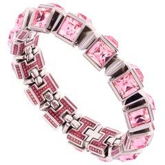 Simon Harrison Hannah Stainless Steel Light Pink Crystal Medium Bracelet