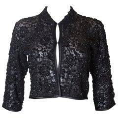 Vintage Black Sequin and Lace Evening Jacket