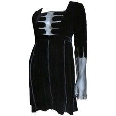 Gucci Devore Velvet and Sheer Silk Dress