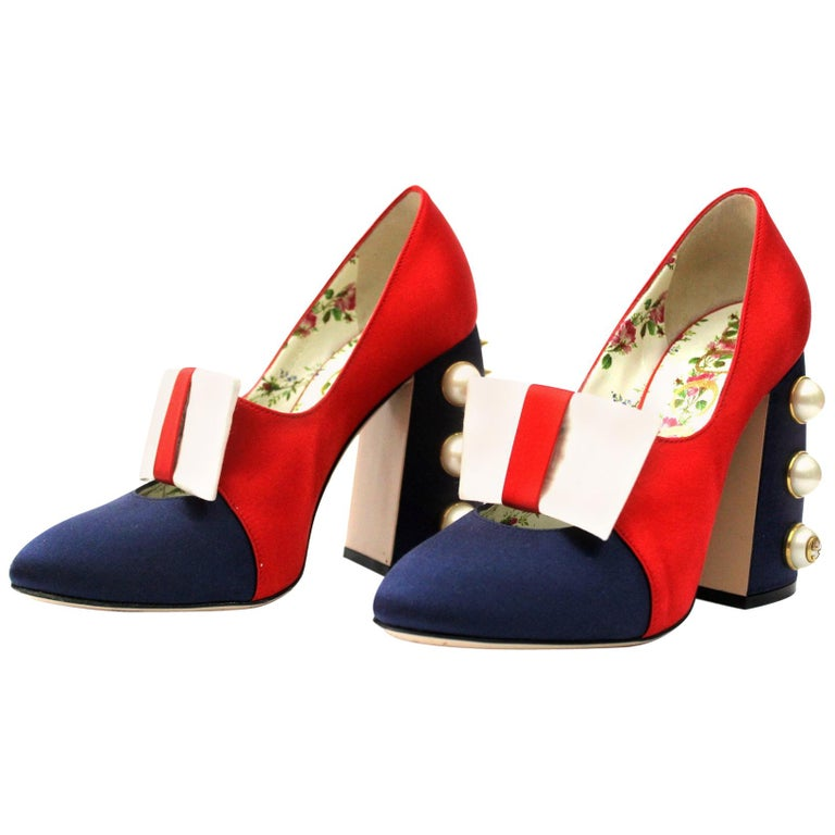 ae92b5dcf62 Gucci Luna Studded Block Heels Color Block Satin Pumps For Sale at ...