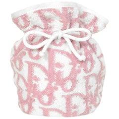 Dior Vintage Pink/White Monogram Terrycloth Drawstring Cosmetic Bag/Pouch