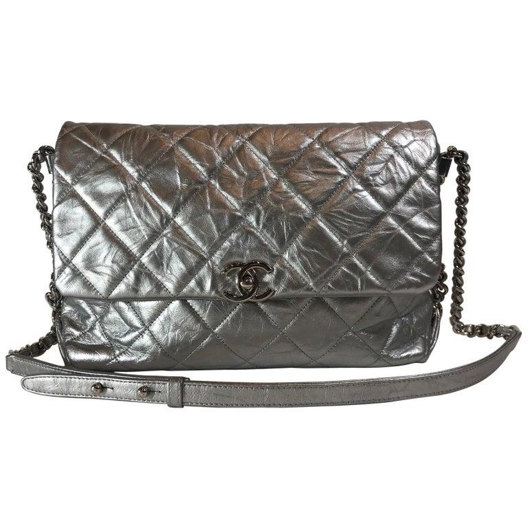 bdbedf83068be9 Chanel Metallic Crumpled Calfskin Big Bang Flap Bag For Sale at 1stdibs