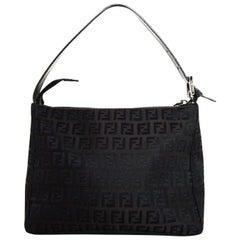 Fendi Brown Mini FF Canvas Monogram Zip Top Shoulder Bag