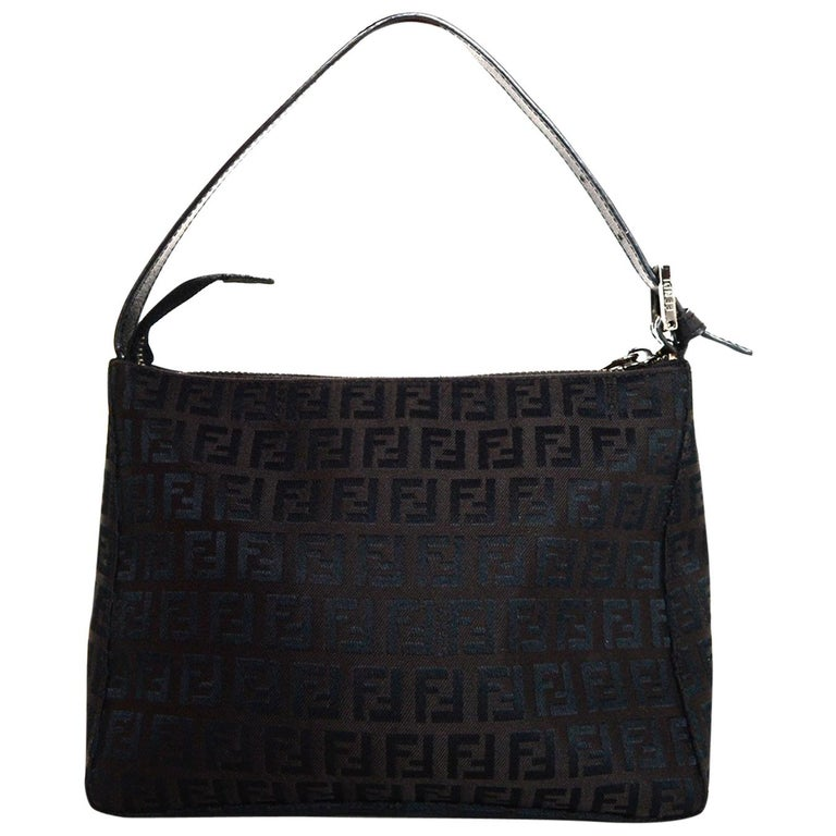 8149a4272bcc Fendi Brown Mini FF Canvas Monogram Zip Top Shoulder Bag For Sale at ...