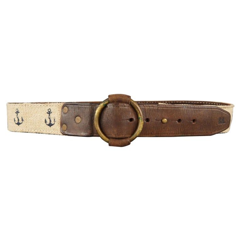 RRL by RALPH LAUREN Size 32 Brown Leather Rope Belt For Sale