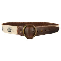 RRL by RALPH LAUREN Size 34 Brown Leather Fabric Ships Belt
