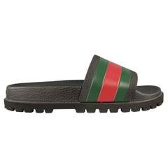GUCCI Pursuit Size 9 Black Stripe Rubber Slides Sandal