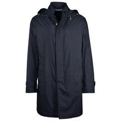 NWT RTL$4350 Brioni Mens 'Caban' Grey Rain Coat w/ Hood Sz M