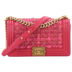 Chanel Boy Flap Bag Quilted Ribbon and Tweed with Leather Old Medium