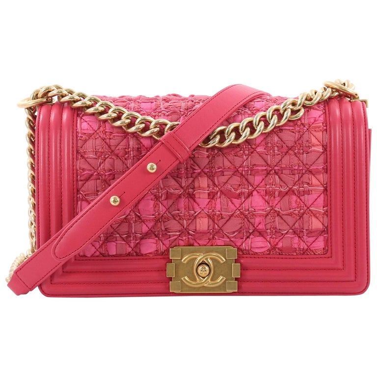 3a858ecca0eb Chanel Boy Flap Bag Quilted Ribbon and Tweed with Leather Old Medium For  Sale
