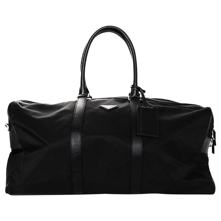 c4d3544a5502 Prada Unisex Black Tessuto Nylon Saffiano Leather V20S Duffle Bag W  Luggage  Tag For