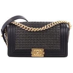 Chanel Boy Flap Bag Braided Sheepskin Old Medium
