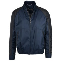 NWT RTL$2650 Brioni Mens Navy Black Panel Zippered Bomber Jacket Sz L