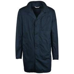 NWT RTL$4350 Brioni Mens Navy Cotton Rain Coat w/ Hood Sz M