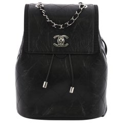 Chanel Drawstring CC Flap Backpack Quilted Aged Calfskin and Grosgrain Small