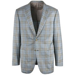 Brioni Men Blue Checkered Wool Brunico Sportcoat 50 R EU 40 NWT$6150