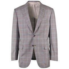 Brioni Men Grey Checkered Wool Textured Brunico Sportcoat 50 R EU 40 NWT$4550