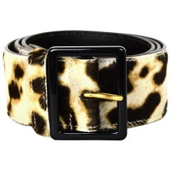 YSL Yves Saint Laurent Pony Hair Tan/Brown Leopard Print Belt Sz S