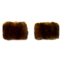 Yves Saint Laurent YSL Brown Mink Cuffs