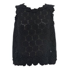 Valentino Black Guipure Lace Roses Sleeveless Top - 8