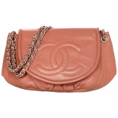 Chanel Orange/Light Red Caviar Leather Half-Moon CC Flap Bag