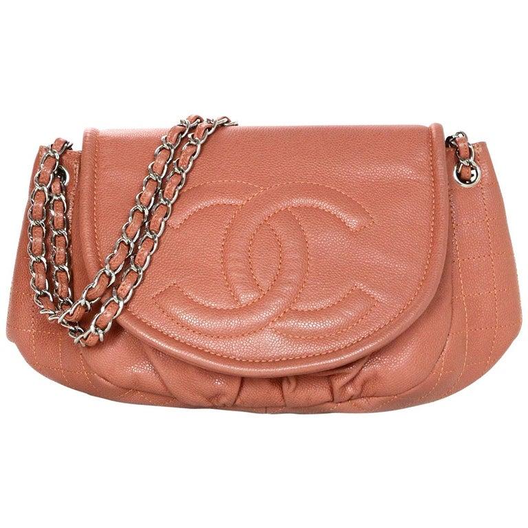 6b5440d8626d Chanel Orange Light Red Caviar Leather Half-Moon CC Flap Bag For Sale