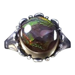 Vintage 1960s Round Flattop Cabochon Cut Mexican Fire Agate 950 Sterling Ring