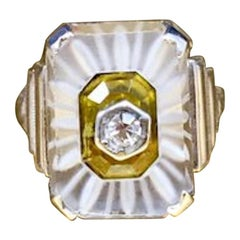 Vintage 1920s Art Deco Camphor Glass Sterling Silver Pinky Ring in Size 3 1/4