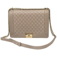 Chanel Dark Beige Quilted Caviar Large Boy Bag 17P