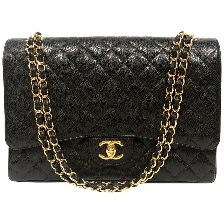 Chanel Classic Double Flap Jumbo Black Caviar Gold