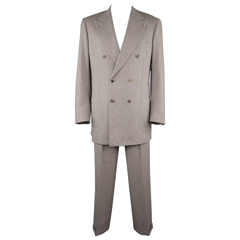 34e12712e1f661 BRIONI 44 Long Wool Light Heather Gray Double Breasted Peak Lapel Cuffed  Suit For Sale