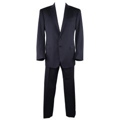 RALPH LAUREN 44 Regular Navy Wool / Silk Lined Notch Lapel Suit