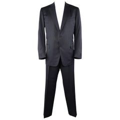 ERMENEGILDO ZEGNA 50 Navy Stripe Wool / Silk Single Breasted Notch lapel Suit
