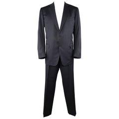 ERMENEGILDO ZEGNA 50 Navy Stripe Wool / Silk Single Breasted Notch lapel Suit