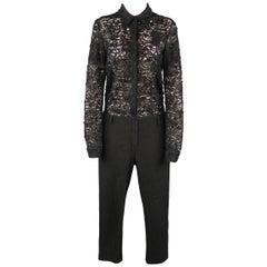 NO. 21 Size 6 Black Lace Shirt Top Jumpsuit Overalls
