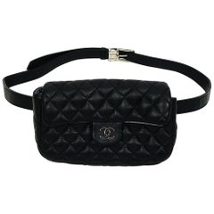 Chanel Uniform Black Quilted Leather Waist-Belt Bag