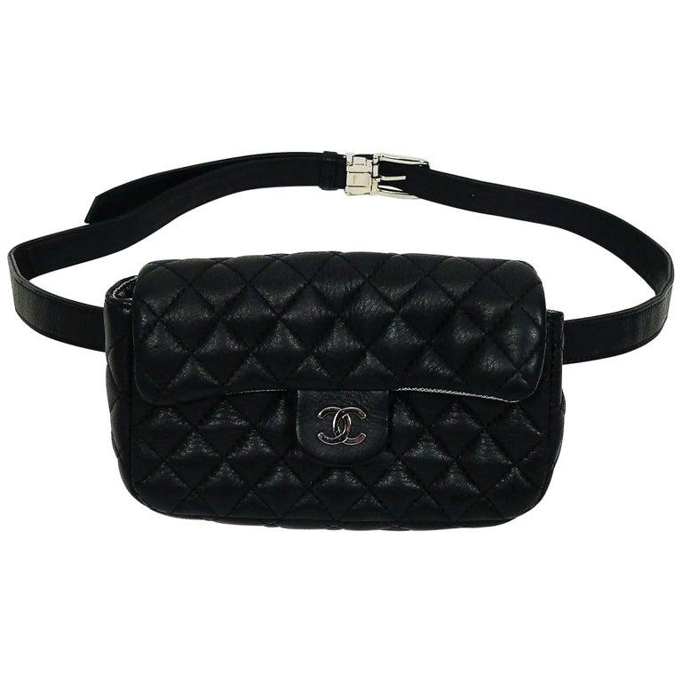 b6ad9d9b9397 Chanel Uniform Black Quilted Leather Waist-Belt Bag For Sale at 1stdibs