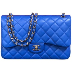 CHANEL double flap bag Jumbo blue shoulder bag quilted lambskin 2016