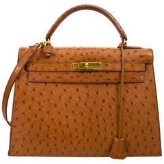 Hermès Kelly 32 Ostrich Gold GHW