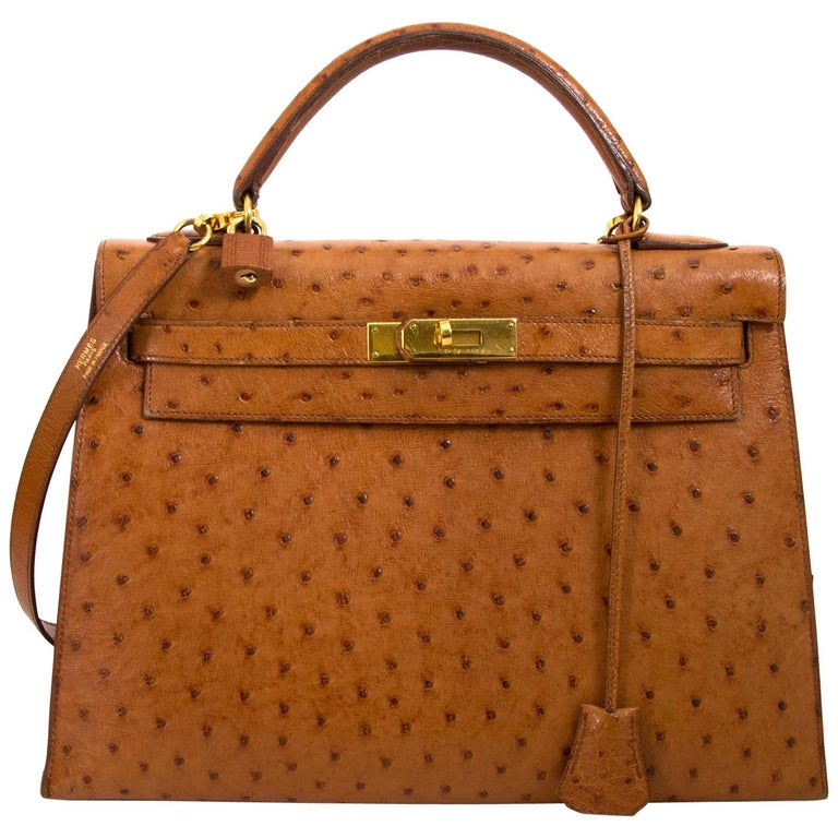1dbbee5d8041 Hermès Kelly 32 Ostrich Gold GHW For Sale at 1stdibs