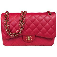 CHANEL double flap bag Jumbo pink shoulder bag quilted lambskin 2016