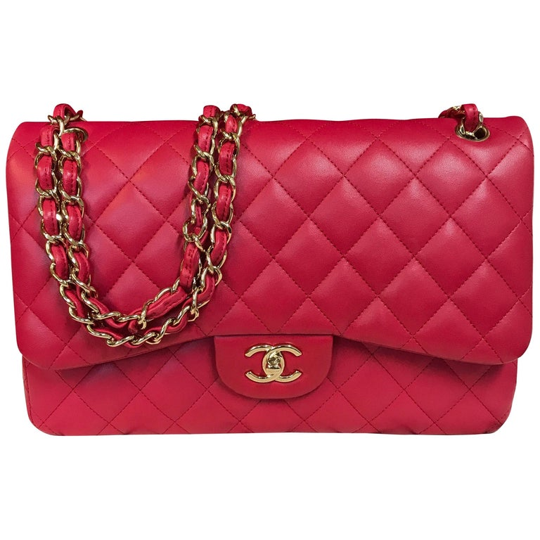 ff71dddd8f3 CHANEL double flap bag Jumbo pink shoulder bag quilted lambskin 2016 For  Sale