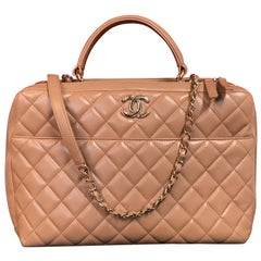 CHANEL CC bowling bag / shoulder bag beige quilted lambskin 2016