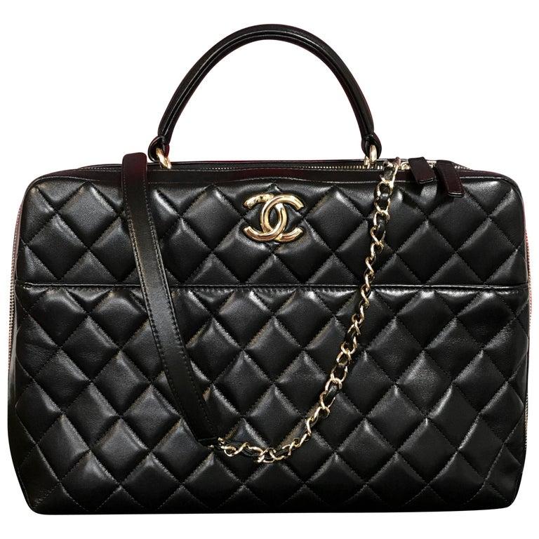 CHANEL CC bowling bag / shoulder bag black quilted lambskin 2016 For Sale