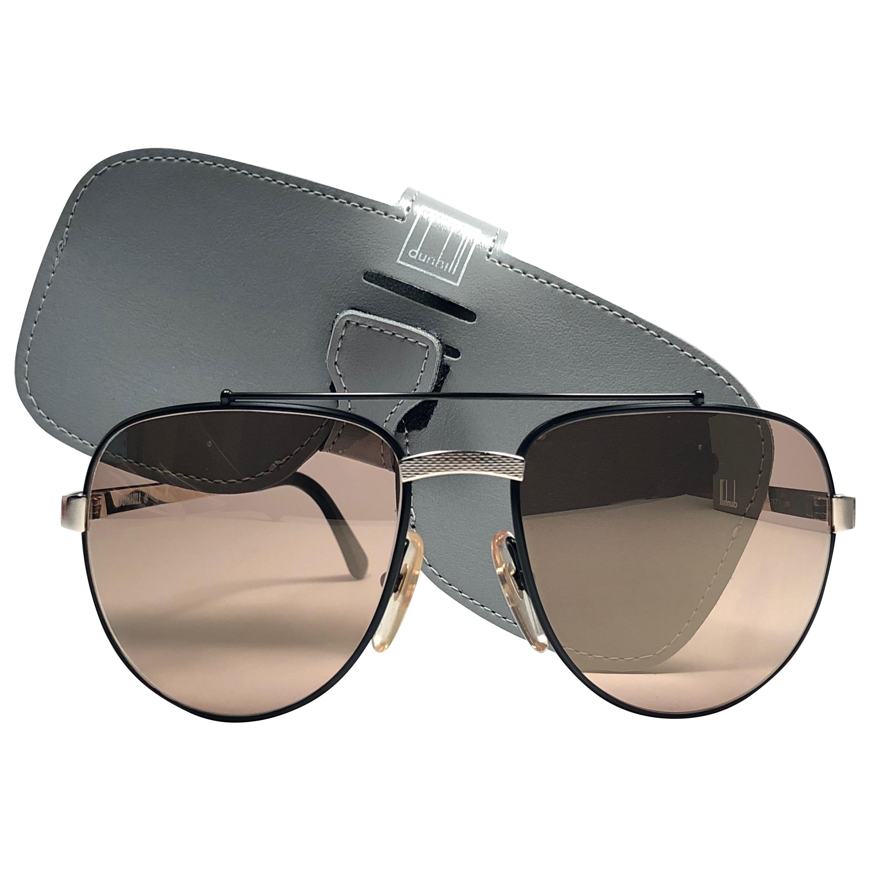 New Vintage Dunhill 6029 Black Frame Aviator Gold Mirror Sunglasses France