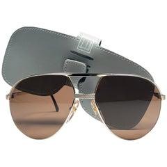 New Vintage Dunhill 6042 Gold Frame Aviator Brown Lenses Sunglasses France